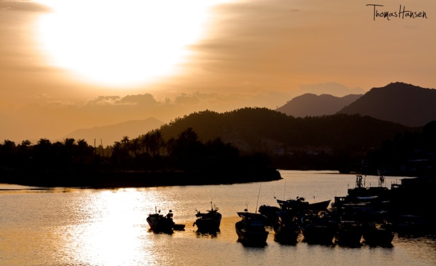 Boats at Sunset in Nha Trang - Vietnam