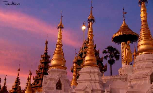 Sunset at Shwedagon Pagoda - Yangon - Myanmar