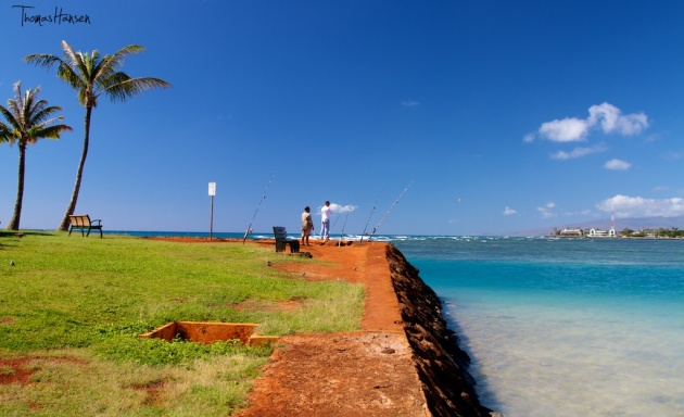 Fishing at Magic Island - Hawaii