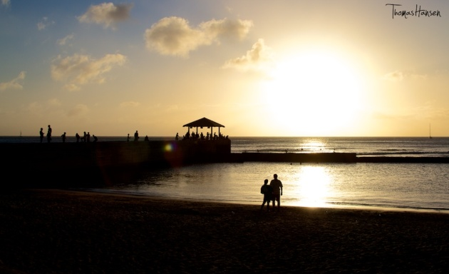 Sunset at Waikiki Beach - Hawaii