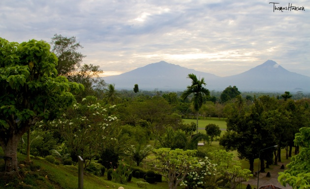 View of Volcanos from Borobudur - Java - Indonesia