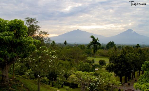 View of Volcanos from Borobudur - Java - Indonesia