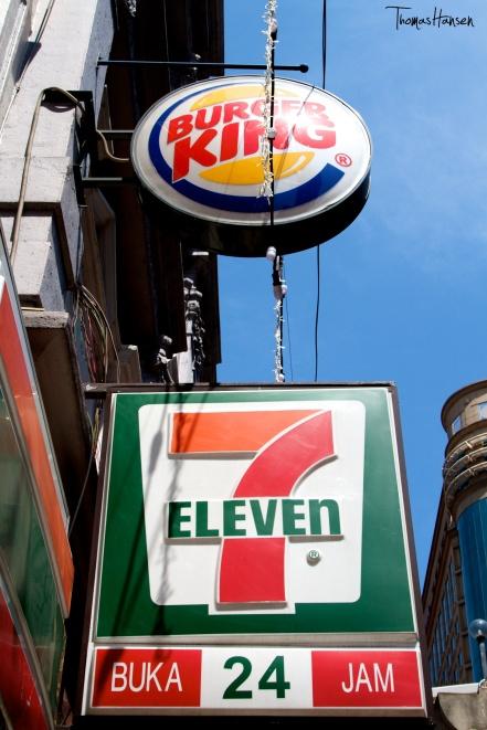 7 Eleven and Burger King in Kuala Lumpur Malaysia