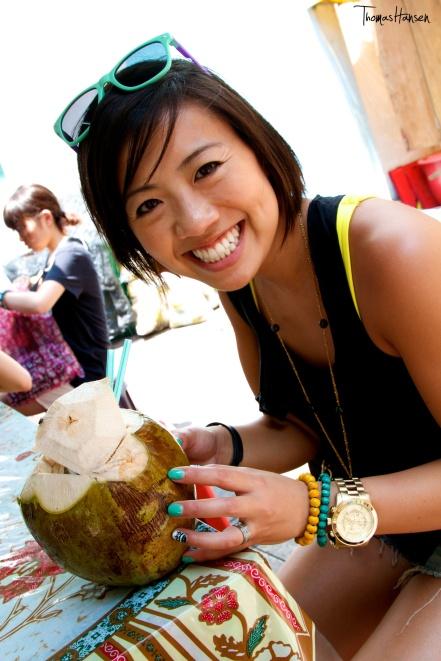 Drinking Fresh Coconut in Kuala Lumpur Malaysia