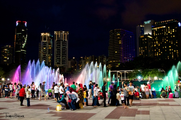 Petronas Fountains at Night - Kuala Lumpur Malaysia