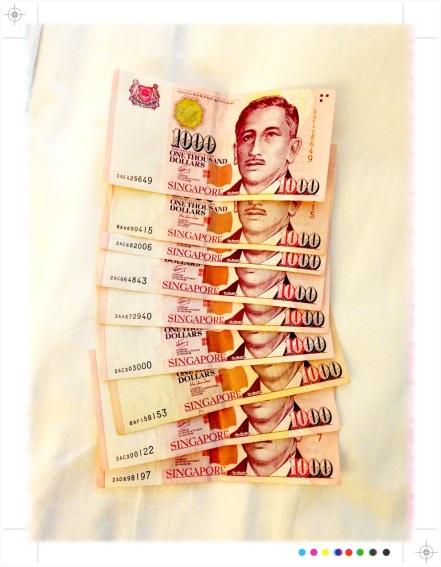 Thousand dollar bills in Singapore